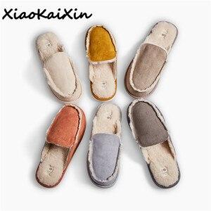 Image 1 - בציר בריטי סגנון בית זוג נעלי בית גברים נשים החורף חם פו זמש נצלנית בטנת צמר מוצק צבע מקורה רצפת בית נעל