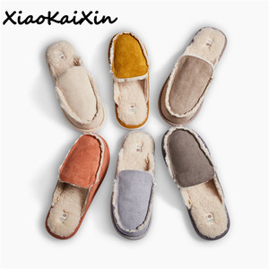 Image 1 - Vintage British Style Couple Home Slippers Men Women Winter Warm Faux Suede Vamp Wool lining Solid Color Indoor Floor House Shoe