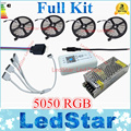 DC12V 5050 RGB LED Strip Light Waterproof 60led/m Diode Flexible Tape 10m 15m 20m + Smart Wifi Led Controller + Power Supply