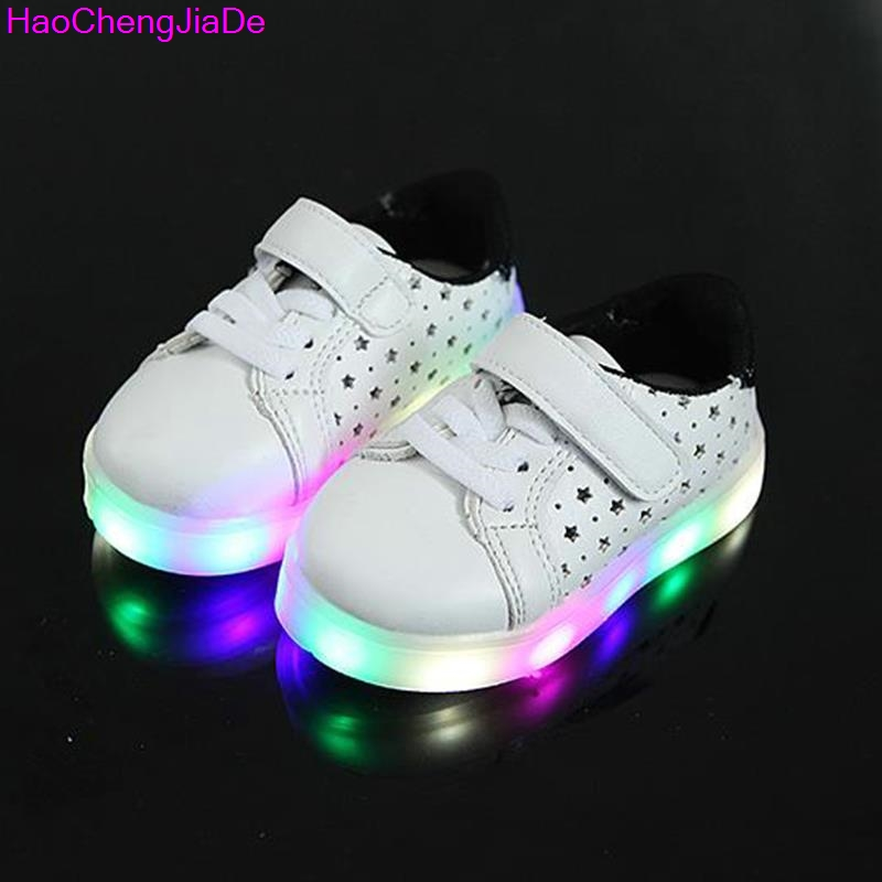 HaoChengJiaDe Children Shoes With Light Led New Fashion Kids Shoes Luminous Glowing Sneakers Baby Toddler Shoes LED EU 21-30 ...