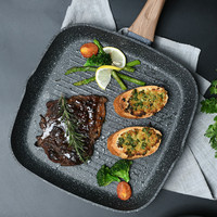 Steak Frying Pan with Steak Stripe Bottom and Non stick Pan Frying Pan Gas Stove Suitable for Steak Frying Pan Square