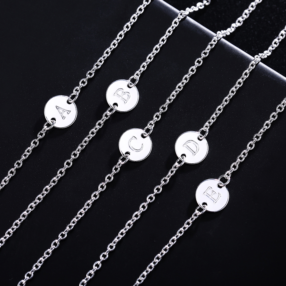 Fashion 26 Letter women men chain bracelet Hot Silver color Charm Bracelet wedding Personality Jewelry Pulseras Mujer JSHLH029