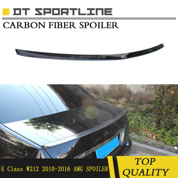 Real Carbon Fiber material spoiler glossy black amg style Car Rear Truck Decoratiom  For mercedes benz E Class w212 2010 - 2016