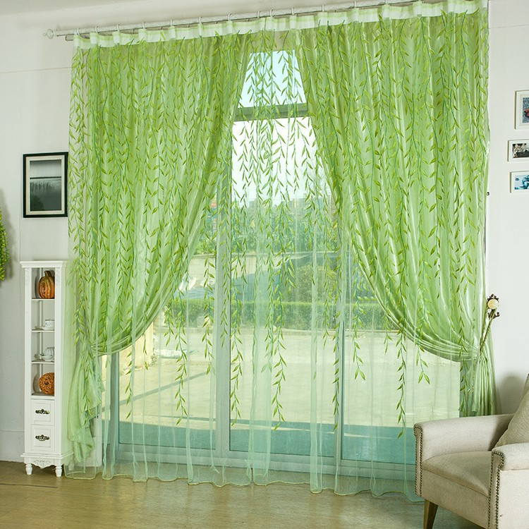 250cm Height By 300cm Width Green Willow Sheer Curtain Garden Style Modern Living Room Curtains In From Home On Aliexpress
