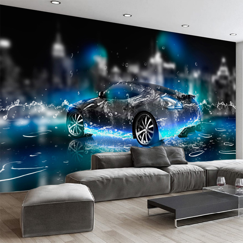Custom 3D Wallpaper Modern Cool Sport Car Photo Wall Murals Living Room Kid's Bedroom Wall Paper Children Cartoon 3D Mural Decor