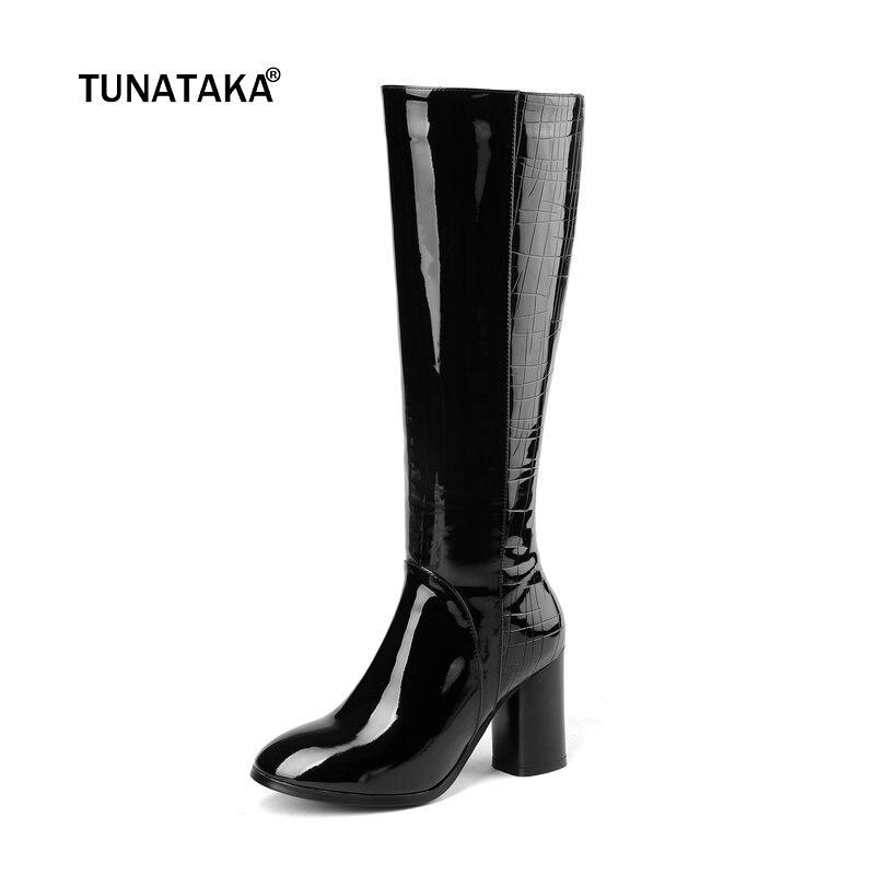 c97b2e637b50 Women Genuine Leather Thick High Heel Knee Boots Fashion Zipper Comfort  Fall Winter Round Toe Black