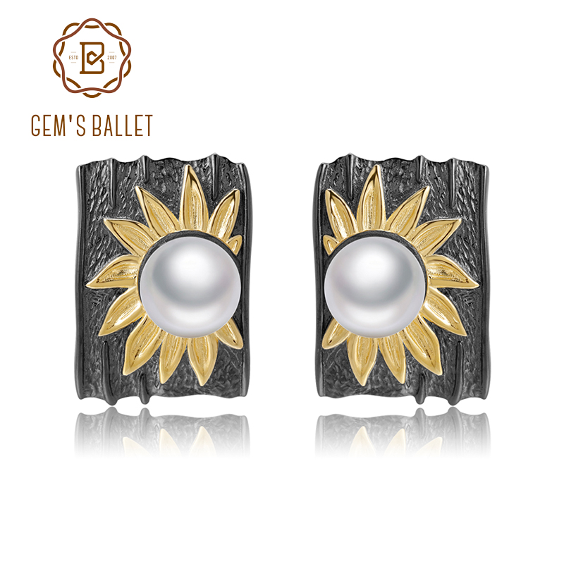 GEM'S BALLET 925 Sterling Silver Earrings Exaggerated Creative Flower Natural Freshwater Pearl Clip Earrings For Women Jewelry-in Earrings from Jewelry & Accessories    1