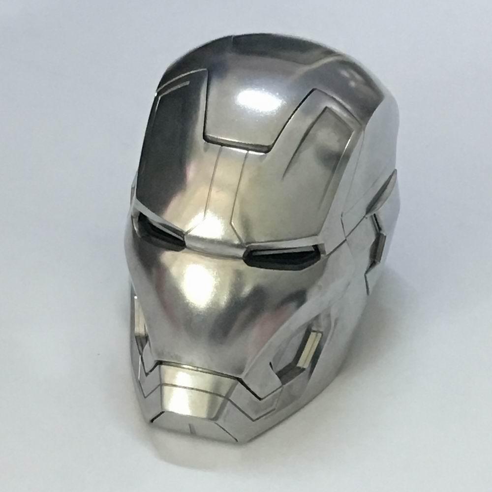 HKXZM Movie Iron Man 1/1 Metal Made Iron Man MK42 Helmet Manual Version With LED Light Metal Healmet Model Collectible Toys Gift invincible iron man ironheart vol 1