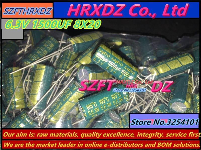 SZFTHRXDZ   100PCS   6.3V  1500UF  8X20  Electrolytic Capacitor  1500UF  6.3V 8*20