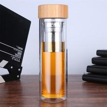 Drinkware portátil de doble pared de cristal del Té Infuser vaso de vidrio filtros de acero inoxidable té filtro