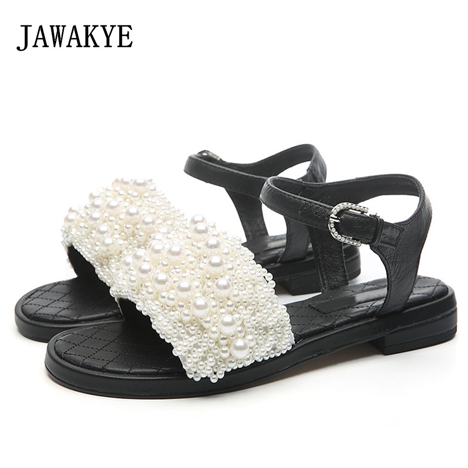 JAWAKYE Comfortable Summer Shoes Woman Pompom Gladiator Sandals Women Roman Strappy Pearl Flat beach Shoes ladies Flat Sandals mokingtop womens sandals flat women vintage cross strap summer roman gladiator strappy shoes flat heel shoes