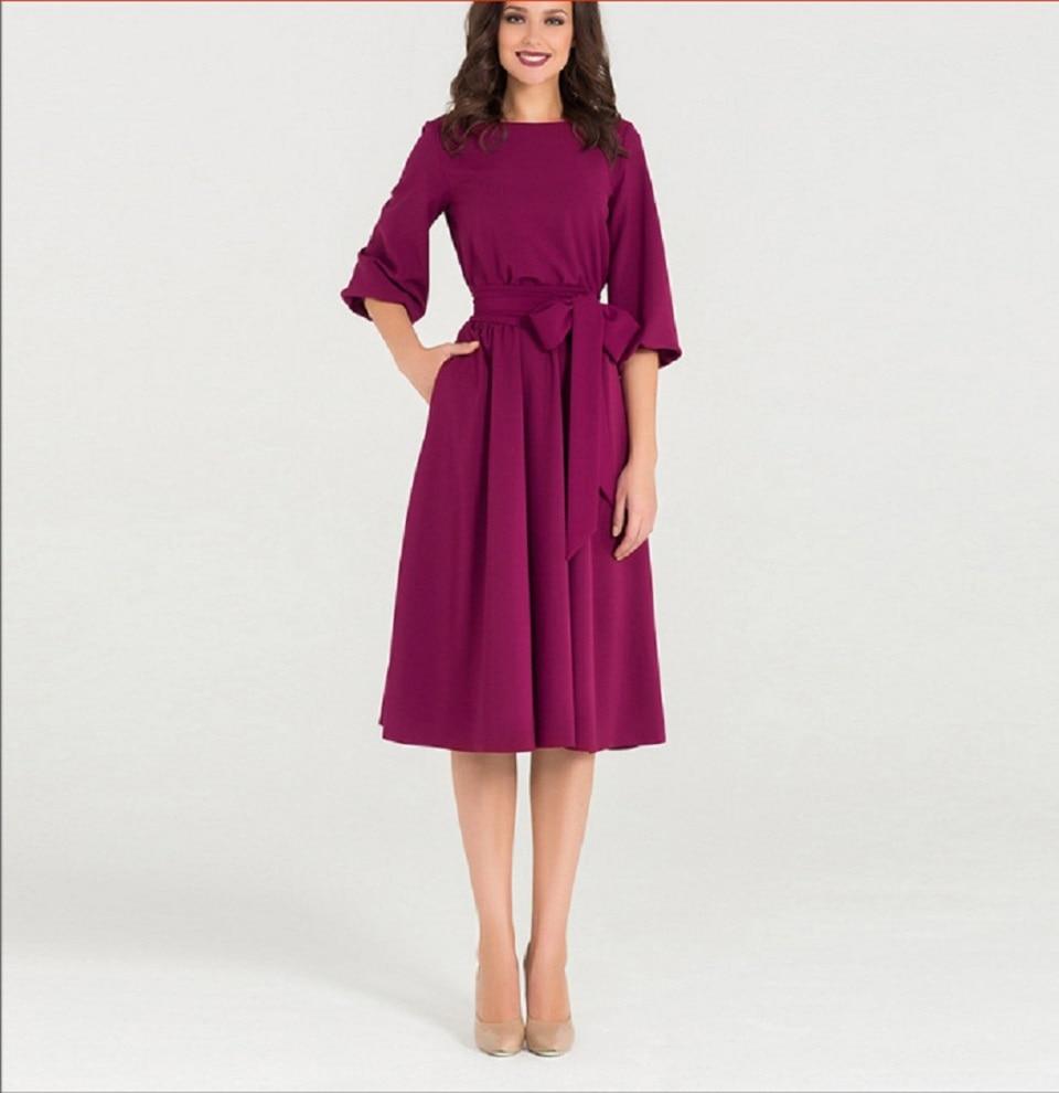 Lacing Lantern Sleeve O-Neck Dress Women Soild Knee-Length Spring Casual O-Neck Elasticity Elegant Party Dresses Vestidos New
