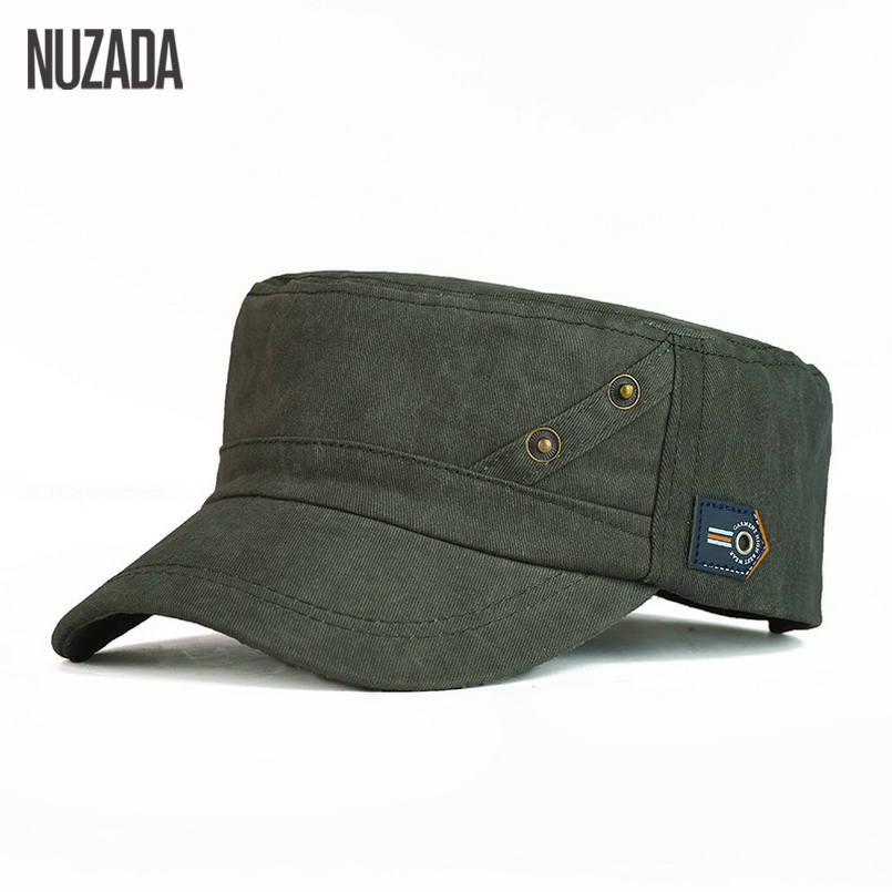Brands NUZADA 2017 Summer Autumn Men Women Unisex Flat Top Cap Military  Hats Classic Vintage Cotton Visor Hat pdd 001-in Military Hats from Apparel  ... f2c00a3bb6c