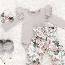 Комплект одежды из 3 предметов для новорожденных девочек комбинезон с длинными рукавами+ длинные штаны с цветочным принтом+ повязка на голову, комплект одежды на возраст от 0 до 24 месяцев