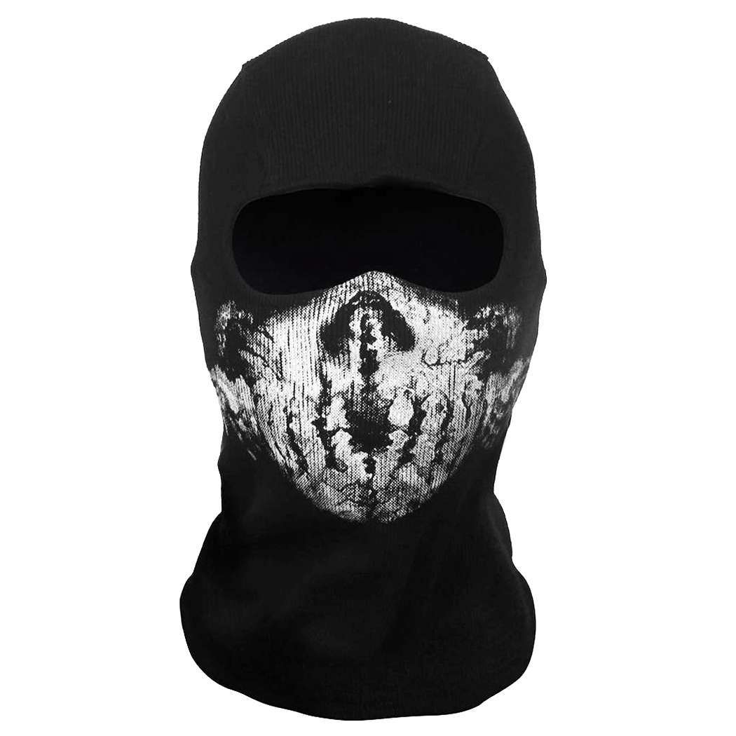Skull Full Face Mask Unisex Black Cosplay Party Ghost Mask Outdoor ...