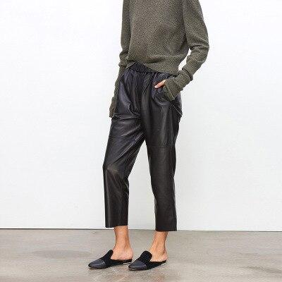 2018 nouvelle mode Véritable Mouton pantalon en cuir G12