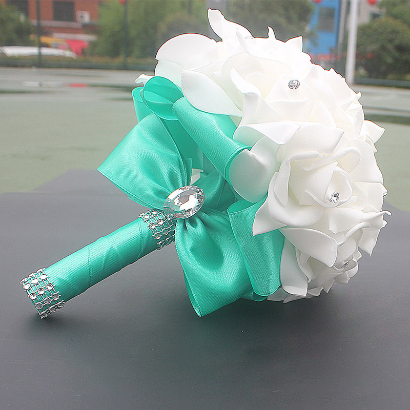 Cheap Prom Baby Blue Flower Brooch Wedding Bouquet De Mariage Wedding Bouquets PE Rose Diamond Ribbon Bouquet W2017D 2