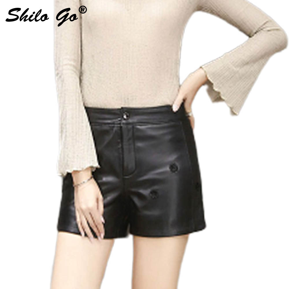 Leather Shorts Womens Autumn Fashion Sheepskin Genuine Leather Shorts And Concise 3D Flowers Pocket Black Leather Short