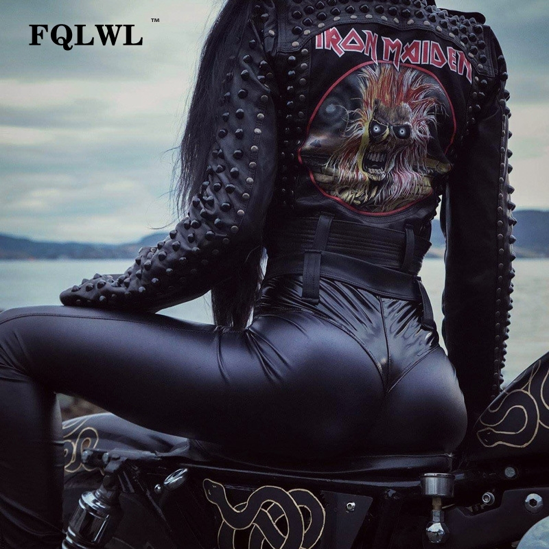 FQLWL Punk Bodycon Faux Pu Leather Pants Women Push Up Black High Waist Pants Female Autumn Winter Trousers Women Sexy Pants 11