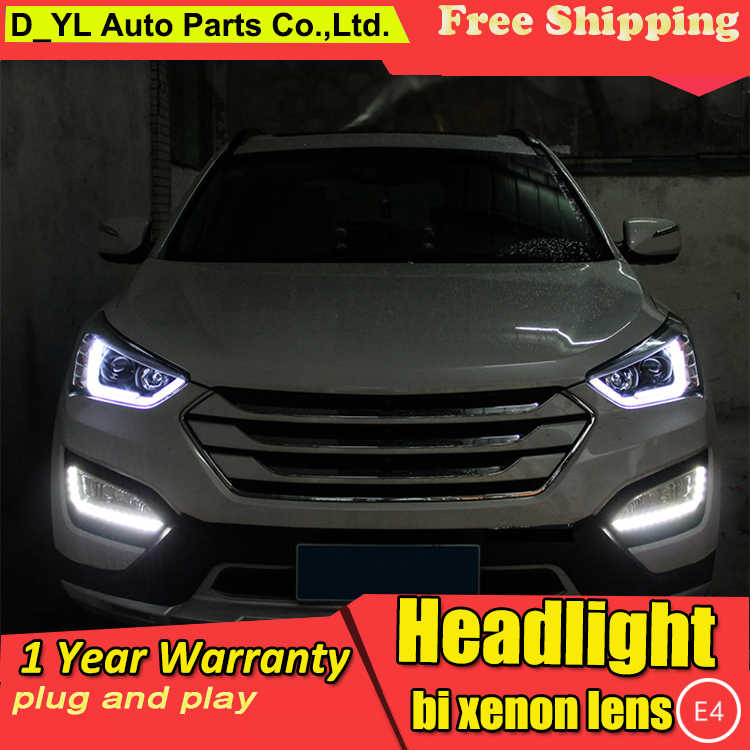 Car Styling Head Lamp for Hyundai IX45 LED Headlights 2015 Turn Singal LED DRL Daytime Running Light Bi-Xenon HID Accessories