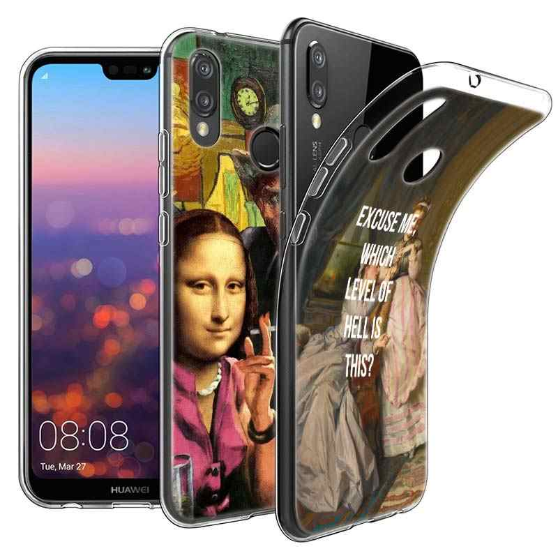 モナリザ面白いパロディーアートケース huawei 社 P20 1080p スマート 2019 ノヴァ 3i 4 P8 P9 ミニ 2017 P30 lite プロシリコーンソフト TPU 電話カバー