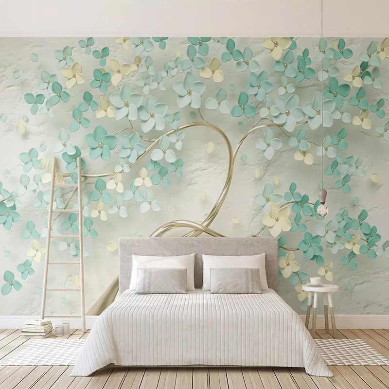 Custom Mural Wallpaper Modern 3D Stereo Hijau Bunga Pohon Foto Kertas Dinding Ruang Tamu Kamar Tidur Dekorasi Rumah Latar Belakang Dinding Mural