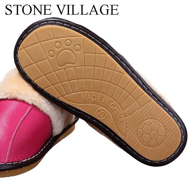 Genuine Leather slippers Warm plush Slipper women Couples Winter IndoorOutside Flats women slippers shoes Women home Slippers 4