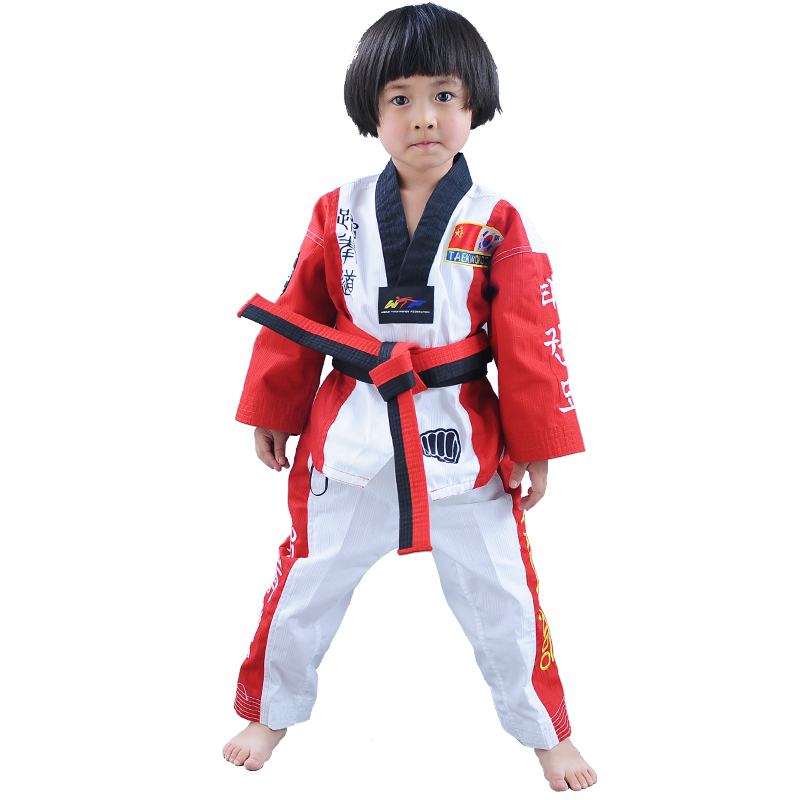 2017 High quality Children Teenagers Taekwondo Uniform Poomsae dobok red blue black tae kwon do clothes Breathable WTF approved