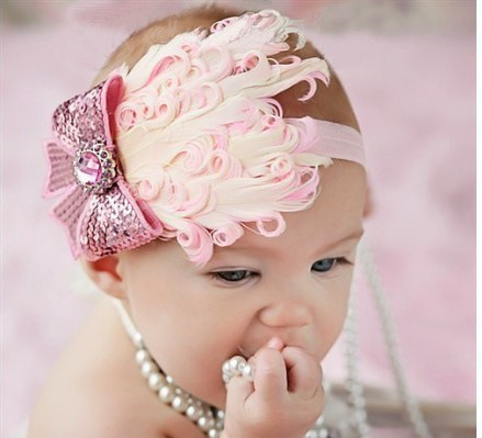 2013 New Fashion Hot Infant Baby Toddler Feather Flower Diamond Bow Headband Soft Headwear Hair Band