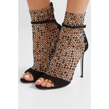 цены 2019 Gladiator Roman Sandals Summer Rivet Studded Cut Out Caged Ankle Boots Stiletto High Heel Women Shning Shoes Boot