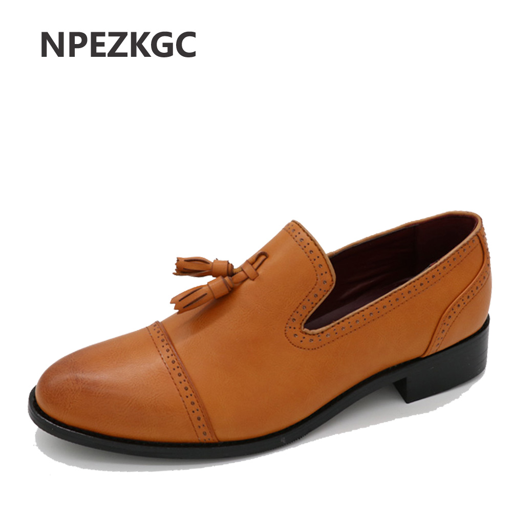 NPEZKGC New Loafers Men Oxford Flat Shoes Top brand Men Moccasins Shoes Wedding Leather Men Shoes Casual zapatos hombre