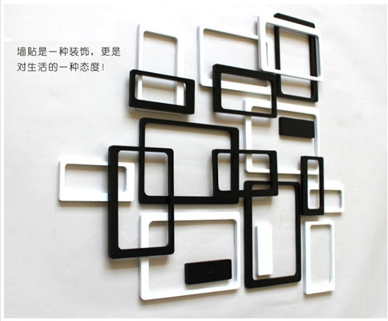 Aliexpress.com : Buy 2sets A Lot New Rectangle 3D Home Decoration Wall  Background Wall Decor Fashion Wooden Photo Frames Wall Stickers Unique Gift  From ...