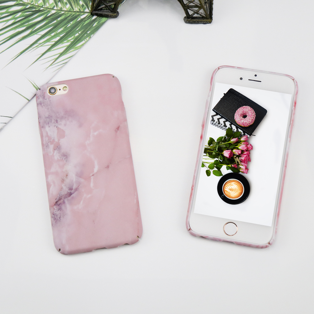 Luxury Pink Stone Texture Marble Case For iPhone 7 Case For iPhone X 8 7 6 6s Case Hard PC phone back cover Fundas Coque capa