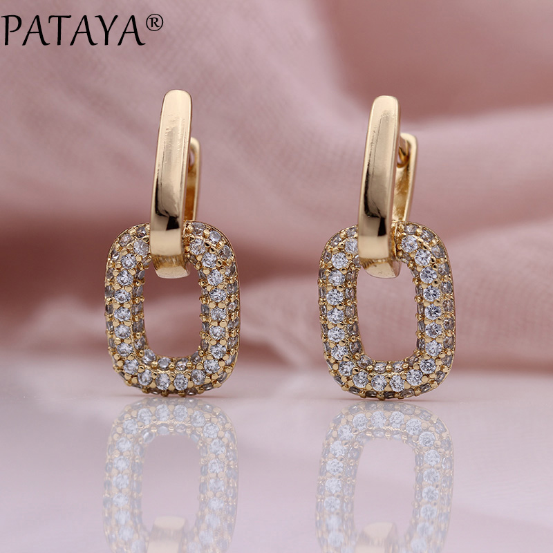 PATAYA New Earring Women Girl Gift Wedding Party Fine Cute Jewelry 585 Rose Gold Double Square Natural Zircon Long Drop Earrings все цены