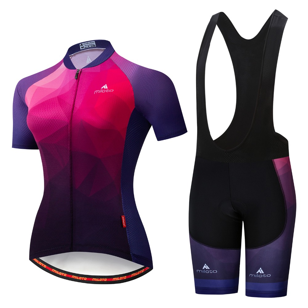 MILOTO 2019 Pro Cycling Clothing Cycling Sets Bike Summer Women Cycling Jersey Set Road Bicycle Jerseys MTB Bicycle Wear