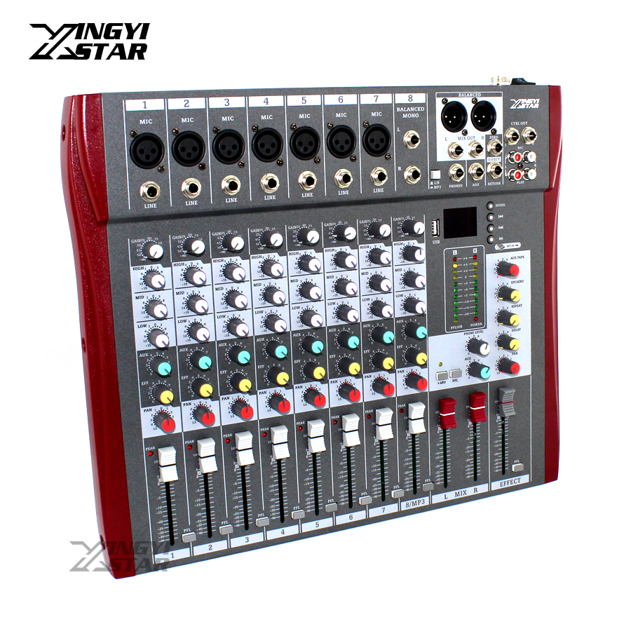 8 Channel Professional Audio Mixer Digital DJ Karaoke MP3 Music Sound USB Equipment Mixing Console 48V Phantom Power Amplifier ct 80s usb di mixer professional amplifier mixer 8 channel stage audio mixer karaoke mixer mixing console mesa dj preamplifier