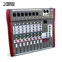 8 Channel Professional Audio Mixer Digital DJ Karaoke MP3 Music Sound USB Equipment Mixing Console 48V Phantom Power Amplifier