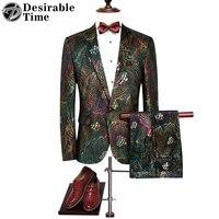 Mens Colorful Paillettes Vestiti con Pantaloni M-4XL Autunno New Fashion Festa di Nozze di Lusso Abiti per Gli Uomini DT066