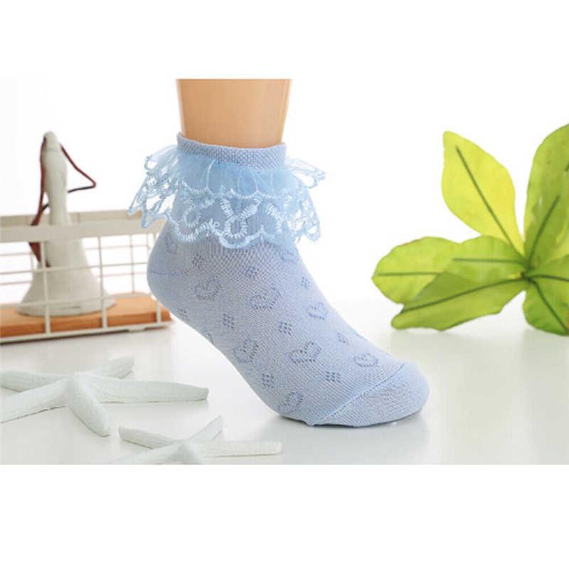 תחרה מצויץ לפרוע תינוק גרבי כותנה רך תינוק ילדה ילד גרבי קרסול גבוהה חמוד נסיכת גרבי גדול קשת לבן 2 -9 שנים