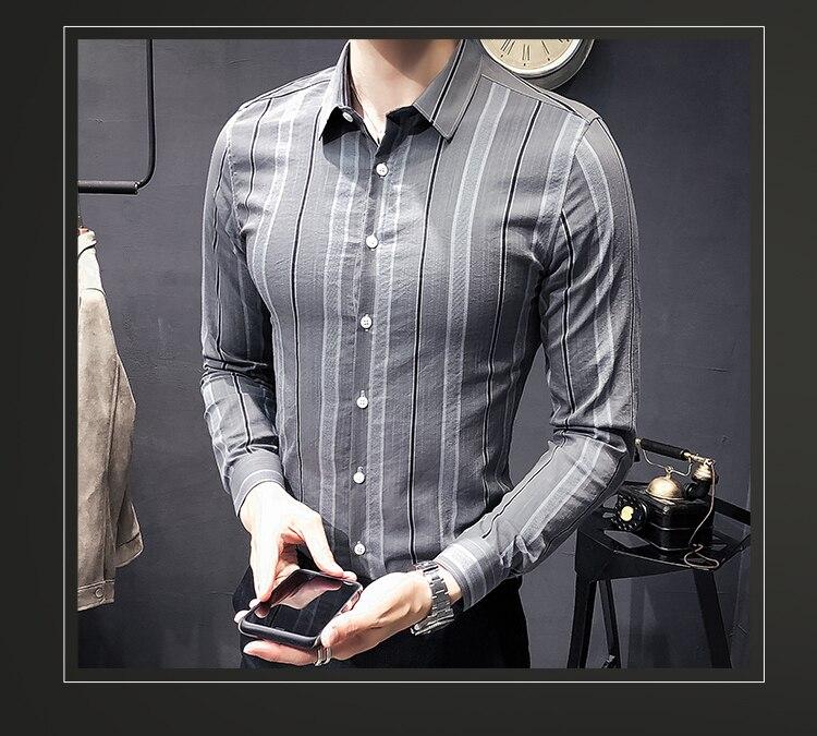 Men/'s Slim British Style à manches longues Youth Chemise Formel Robe Chemise décontractée Tops