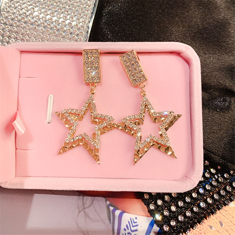 DREJEW Square Star Shiny Rhinestone Statement Earrings 2019 Gold Silver 925 Drop Earrings Sets for Women Wedding Jewelry HE849 in Drop Earrings from Jewelry Accessories