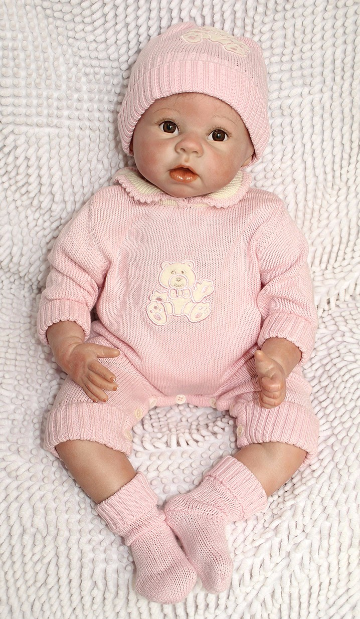 NPKCOLLECTION 22 Inch/ 55 cm Very Soft Silicone Newborn Baby Doll Reborn Babies Dolls Lifelike Real Baby Doll for Children Gift