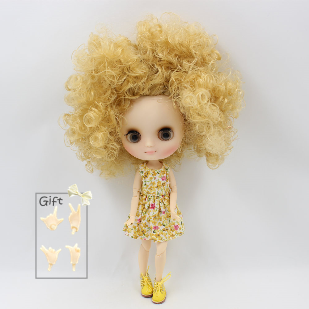 Nude Factory Middle Blyth doll Series No QE330 Gold curly hair Matte face suitable for change