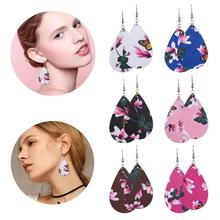 Drop PU Leather Teardrop Dangle Statement Earrings For Fashion Trendy Jewelry Women Water