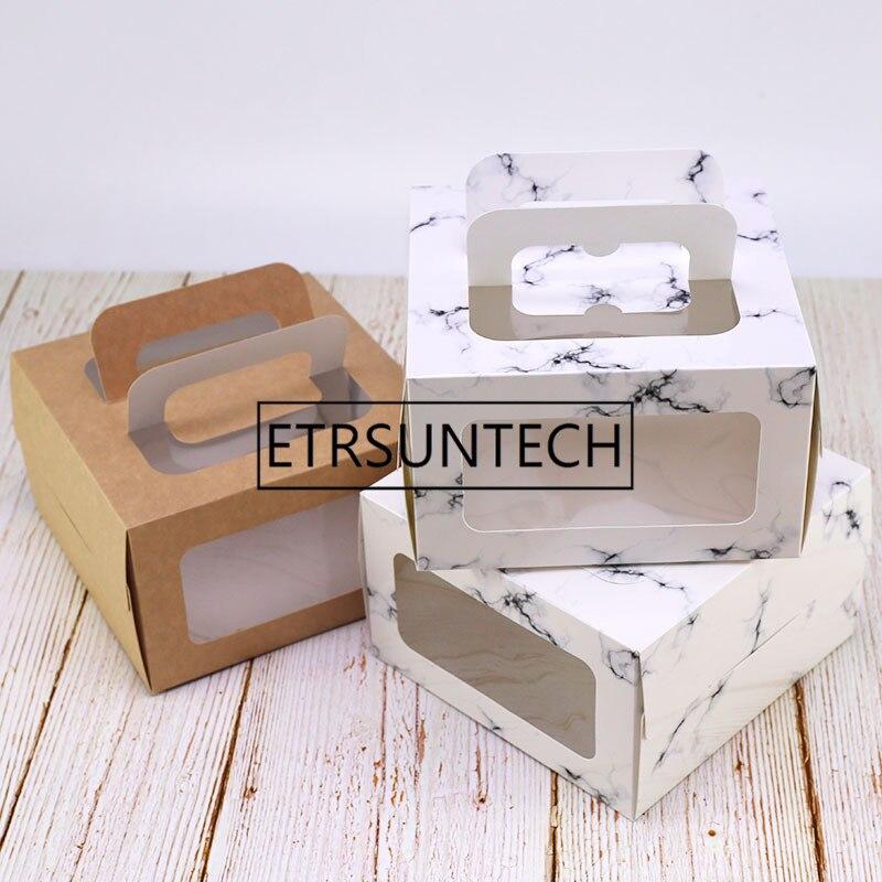 100pcs lot 4 inch cake box with window handle Kraft paper cheese cake box kids Birthday