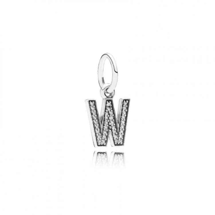 Letter V Silver Dangle With Cubic Zirconia