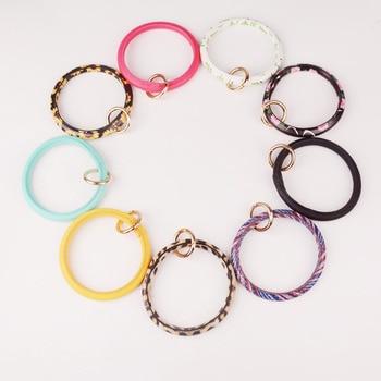 Rainbery New Fashion Monogram PU Leather O Custom Circle Wristlet Key chain