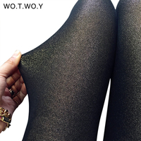 WOTWOY Lurex Shiny Leather Leggings Women Pencil Skinny Push Up Leggings High Waist Fitness Trousers Female