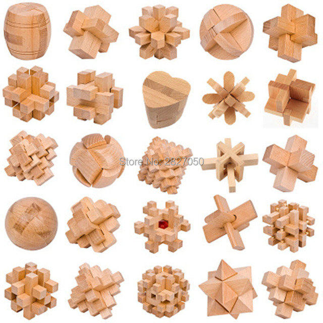 Design Iq Brain Teaser Wooden Toys 3d Building Blocks Toy Kong Ming