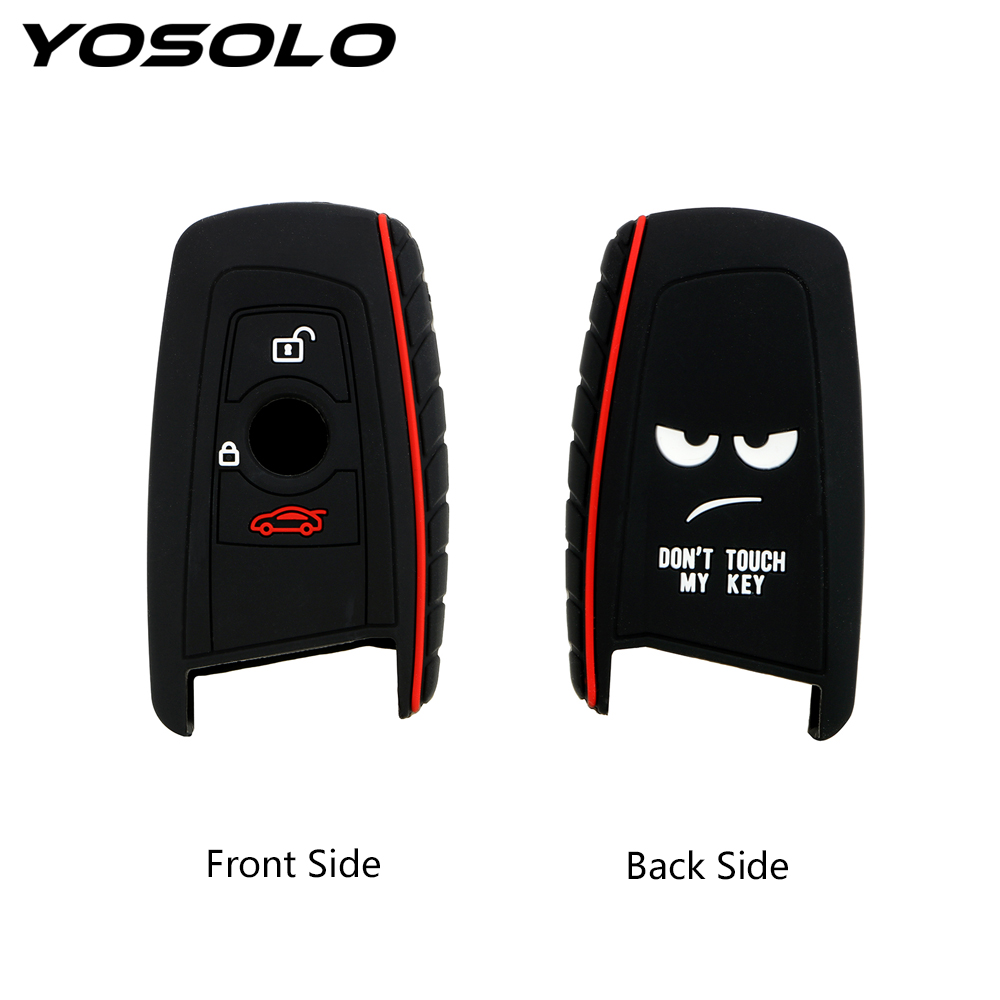 YOSOLO Key Protect Bag For BMW E30 E34 E36 E39 E46 F10 F11 F31  Car Key Case Cover Silicone 3 Buttons Remote Key Shell Fob
